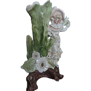 Early 1900's Floral Bud Vase w/Lady figurine - Unique - unmarked