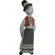 Vintage Hollohaza 1831 Ceramic Hand Painted figurine of a Young Boy wearing Traditional Clothi