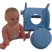 Renwal Baby Boy Diapered Doll & Ideal Potty chair with removable pot Dollhouse items - signed