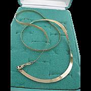 "SOLD 14 karat Gold Reversible Herringbone Necklace - 22"" Long x 5mm 9 lg Eternagold - sig"