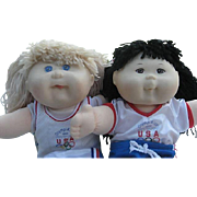 Two vintage Olympic Kids Cabbage Patch dolls and Vintage Falcon wood cradle - dolls and cradle