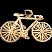 SOLD 14 Karat Gold Diamond Cut Bicycle Charm - Original Box