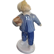 """Bing & Grondahl Porcelain of Young Boy """"Who is Calling"""" Figurine 225l - signed YD -"""