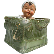 SALE Antique RARE German Porcelain/Bisque Infant in Green Wicker Air Balloon Basket Figurine -