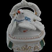 Early 1900 Fairing -  Porcelain Dresser with Dove delivering a Love Letter - Trinket Box - num