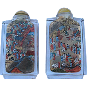 SALE A Pair of Vintage Chinese Detailed Reversed Painted Snuff bottles with Asian Scenes cased