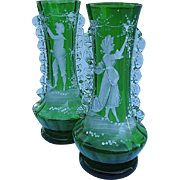 SALE Stevens & Williams Hand-blown Hand-painted Boy & Girl Vase Pair - RARE Find
