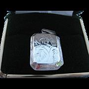 SALE Vintage Sterling Silver 925 Hand Engraved Design Etched Picture Locket Pendant