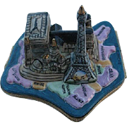 SALE Paris Landmarks on Map of France Limoges Box - Retired