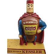 KESSLERS Smooth as Silk Chalk Ware Super Hero Superbrand Bottle Glorifier Statue Figure Man ..