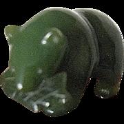 Vintage Green Nephrite Jade Alaskan Carved Bear w/Salmon Figure