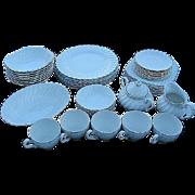 RARE Johnson Bros. Snowhite Swirl Platinum Silver Trim 46 pc. China Set - Made in England