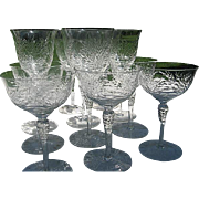 Antique Fine Czech Crystal Glass - Hand Etched - spiral etch stemware - 12 pc. - Late 1800's e