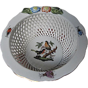 Herend Hand-painted Reticulated Porcelain Basket Weave pattern Bowl w/Birds inside the center,