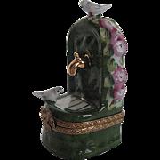 Hand-painted Limoges Bird Bath w/birds figurine Trinket Box - Made in France