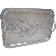 SOLD Large Tulip Embossed Flower Handle Hand Wrought Rodney Kent Aluminum Tray - 40's - 50's e