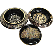 Hand-made in Greece Black Enamel lidded Trinket Box w/silverplate worry beads and Greek Ashtra