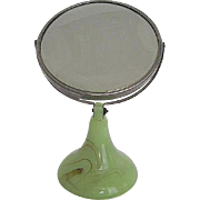 Vintage Shaving/Make-up Double Tilt Mirror with Green & Brown Marbleized Solid Heavy Glass Sta