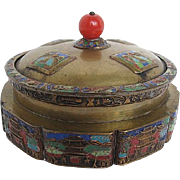Large Brass Champleve Candy Box with Lid - China