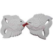 1954 Miller Studio Chalkware White Kissing Angel Fish wall plaques