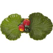 Vintage Serving Tray by Maurice Ceramics of California-Green Leaf Shaped dish w/Apple Decorati