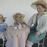 "Ashton Drake ""And Teddy makes Three"" Tea Party w/Gramma, Teddy, and Little girl"