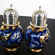 SALE Rare 19th Century Hand-Painted Gold and Cobalt Blue Sugar Shakers - E.P.N.S. - Crown/red