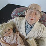 """Ashton Drake """"I will finish the Story""""  Grandpa & Little girl reading story - Porcel"""