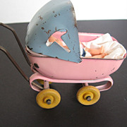 1940's Dollhouse Metal Buggy w/doll - made in USA