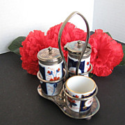 BC&S Ltd - E.P.N.S. Silver-plate caddy & porcelain Salt & Pepper Shakers & mustard pot - made