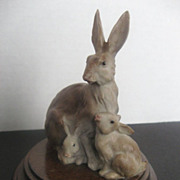 SALE Capodimonte Mother Rabbit and babies figurine - signed by artist - crown-N