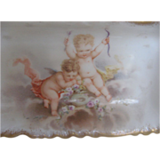 Vintage Early 1900's Hand-painted Porcelain Cherub dish w/gold trim - signed