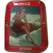 1941 Coke a Cola Advertising Tray of Girl Ice Skater taking a Rest - Original