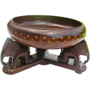 Hand-carved two-tone Inlaid Wood Bowl w/carved Elephant Stand/base