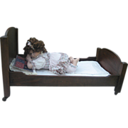 Vintage Hand-made Wood Doll Bed w/wheels, Bedding and Porcelain doll