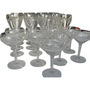 Vintage Hand blown, needle etched vintage fine crystal stemware - 21 piece set