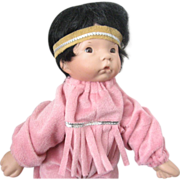 Hand-made Native American Baby doll -- Porcelain w/bean bag body