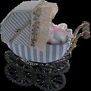 Vintage Hand-crafted Blue & White Cloth & Metal Dollhouse Buggy w/doll - by Barbara J. Ruemeli