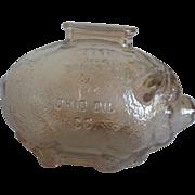 Vintage Advertising Metallic Gold Glass Piggy Bank - Marathon/Ohio Oil Co.  - 1960 era