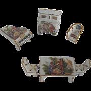 Limoges 6 pc. Porcelain Hand-painted Miniature Doll Furniture Set - Limoges France