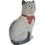Cast Iron White and Black Cat Bank w/Red ribbon collar - 1930-40's era