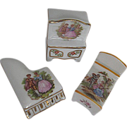 Limoges Hand-painted 3 pc. Miniature Porcelain Dollhouse Furniture Set - signed - made in Fran