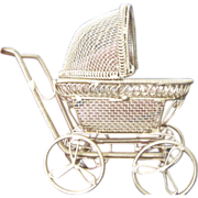 Vintage wire designed gold colored dollhouse buggy w/spoke wheels