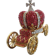 SALE 2 pc. Trinket Box Cinderella Carriage - Red & Clear Rhinestones on Brass