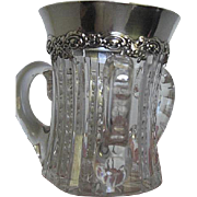 Sterling Silver and Glass 3 handled Loving Cup
