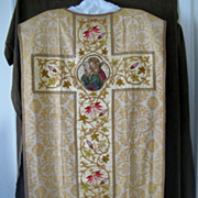 Late 19C. 4 Hand Embroidered Priest Chasubles Collection with Gilded Stole