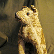 """Early 20c Vintage Mohair Dog 11.5"""""""