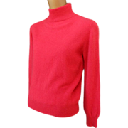 SOLD Vintage 90s Red Cashmere Turtleneck Sweater - Size S