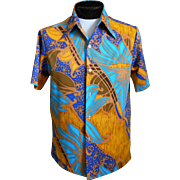 SOLD Vintage Mens Tori Richard Hawaiian Aloha Shirt, Abstract Tropical Floral Print, Liberty H