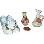 Vintage Miniature Japanese Vase, Pitcher and Shoes